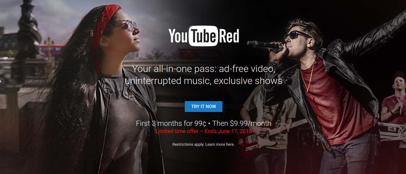YouTube Red (and Google Play Music) goes cheap with sub-$1